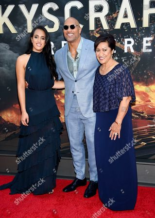 "Actor Dwayne Johnson, center, poses with his daughter Simone Johnson, left, and mother Ata Johnson at the ""Skyscraper"" premiere at AMC Loews Lincoln Square, in New York"