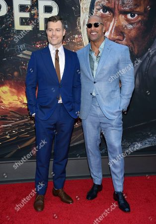 "Stock Image of Director Rawson Marshall Thurber, left, and actor Dwayne Johnson attend the ""Skyscraper"" premiere at AMC Loews Lincoln Square, in New York"