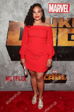 """Stock Image of Michelle Beck attends the premiere of the Netflix original series Marvel's """"Luke Cage"""" season two at The Edison Ballroom, in New York"""