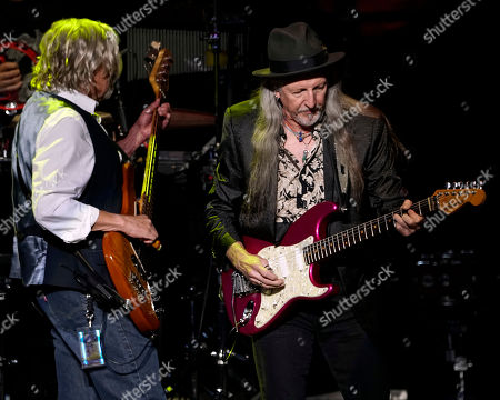 The American iconic rock band, The Doobie Brothers with bass player John Cowan original member guitarist Patrick Simmons performs at the Xfinity Center, in Mansfield, Mass