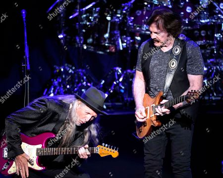 The American iconic rock band, The Doobie Brothers with original member guitarist Patrick Simmons and founding member and lead guitarist Tom Johnston performs at the Xfinity Center, in Mansfield, Mass