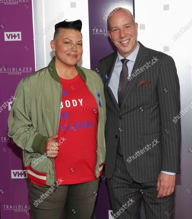 Sara Ramirez, left, and honoree Anthony Romero attend VH1's Trailblazer Honors at the Cathedral of St. John the Divine, in New York