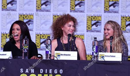 "Valarie Pettiford, from left, Alex Kingston and Teresa Palmer attend the ""A Discovery of Witches"" panel on day one of Comic-Con International, in San Diego"