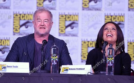 "Owen Teale, left, and Valarie Pettiford attend the ""A Discovery of Witches"" panel on day one of Comic-Con International, in San Diego"