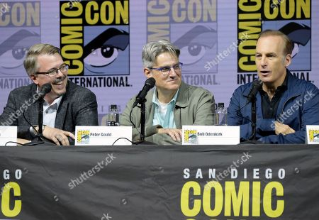 "Stock Image of Vince Gilligan, from left, Peter Gould and Bob Odenkirk attend the ""Better Call Saul"" panel on day one of Comic-Con International, in San Diego"