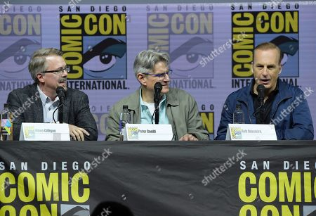 "Vince Gilligan, from left, Peter Gould and Bob Odenkirk attend the ""Better Call Saul"" panel on day one of Comic-Con International, in San Diego"