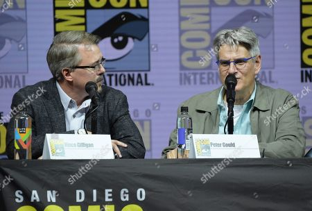 "Vince Gilligan, left, and Peter Gould attend the ""Better Call Saul"" panel on day one of Comic-Con International, in San Diego"