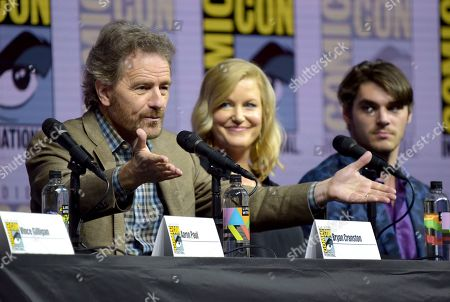 """Bryan Cranston, from left, Anna Gunn and RJ Mitte attend the """"Breaking Bad"""" 10th Anniversary panel on day one of Comic-Con International, in San Diego"""