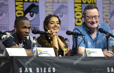 "Tosin Cole, from left, Mandip Gill and Chris Chibnall attend the ""Doctor Who"" panel on day one of Comic-Con International, in San Diego"