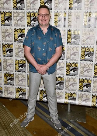 "Chris Chibnall arrives at the ""Doctor Who"" press line on day one of Comic-Con International, in San Diego"