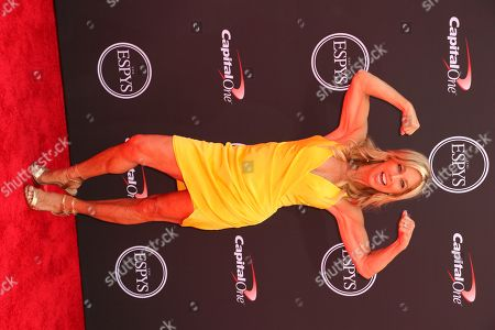 Denise Austin arrives at the ESPY Awards at the Microsoft Theater, in Los Angeles