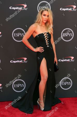 Lolo Jones, a hurdler and bobsledder, arrives at the ESPY Awards at Microsoft Theater, in Los Angeles