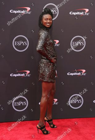Tori Bowie arrives at the ESPY Awards at the Microsoft Theater, in Los Angeles