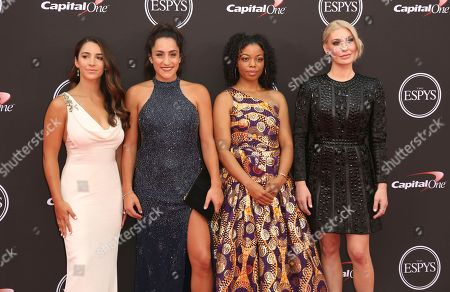 Gymnast Aly Raisman, from left, gymnast Jordyn Wieber, former Michigan State University softball player Tiffany Thomas Lopez and Sarah Klein arrive at the ESPY Awards at the Microsoft Theater, in Los Angeles