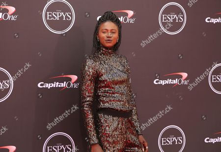 Tori Bowie arrives at the ESPY Awards at Microsoft Theater, in Los Angeles
