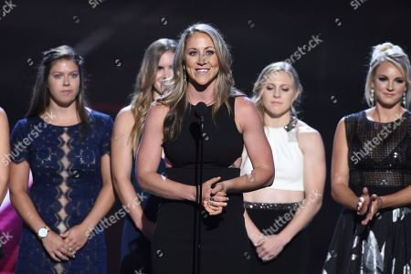 Meghan Duggan, captain of the U.S. women's ice hockey team, accepts the award for best game for defeating Canada in the 2018 Winter Olympics, at the ESPY Awards at Microsoft Theater, in Los Angeles