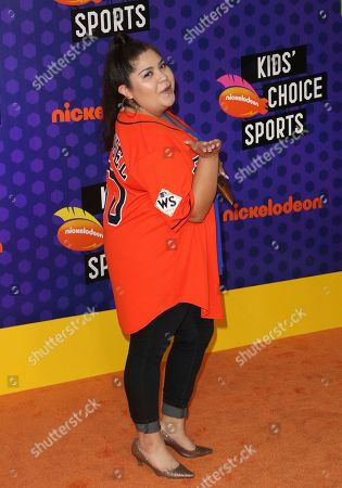 Raini Rodriguez arrives at the Kids' Choice Sports Awards at the Barker Hangar, in Santa Monica, Calif