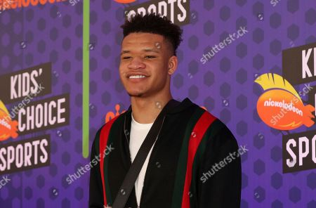 Stock Picture of New York Knicks NBA basketball player Kevin Knox arrives at the Kids' Choice Sports Awards at the Barker Hangar, in Santa Monica, Calif