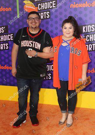 Rico Rodriguez, left, and Raini Rodriguez arrives at the Kids' Choice Sports Awards at the Barker Hangar, in Santa Monica, Calif