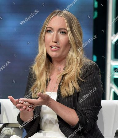 """Author Caroline Kepnes participates in Lifetime's """"YOU"""" panel during the Television Critics Association Summer Press Tour at The Beverly Hilton hotel, in Beverly Hills, Calif"""