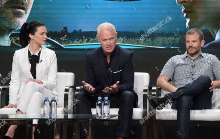 "Laura Mennell, from left, Neal McDonough and creator/writer David O'Leary participate in History's ""Project Blue Book"" panel during the National Geographic Television Critics Association Summer Press Tour at The Beverly Hilton hotel, in Beverly Hills, Calif"