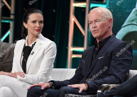 "Laura Mennell, left, and Neal McDonough participate in History's ""Project Blue Book"" panel during the National Geographic Television Critics Association Summer Press Tour at The Beverly Hilton hotel, in Beverly Hills, Calif"