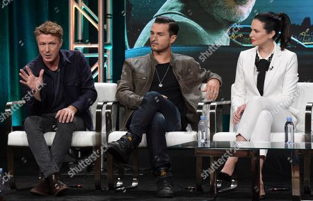"Aidan Gillen, from left, Michael Malarkey and Laura Mennell participate in History's ""Project Blue Book"" panel during the National Geographic Television Critics Association Summer Press Tour at The Beverly Hilton hotel, in Beverly Hills, Calif"