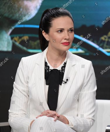 """Laura Mennell participates in History's """"Project Blue Book"""" panel during the National Geographic Television Critics Association Summer Press Tour at The Beverly Hilton hotel, in Beverly Hills, Calif"""