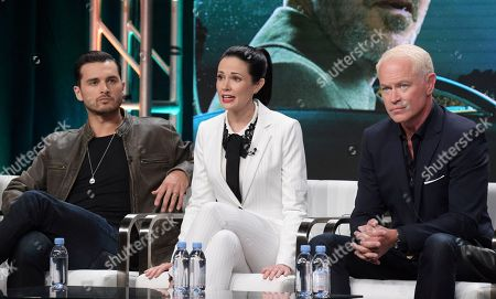 "Michael Malarkey, from left, Laura Mennell and Neal McDonough participate in History's ""Project Blue Book"" panel during the National Geographic Television Critics Association Summer Press Tour at The Beverly Hilton hotel, in Beverly Hills, Calif"