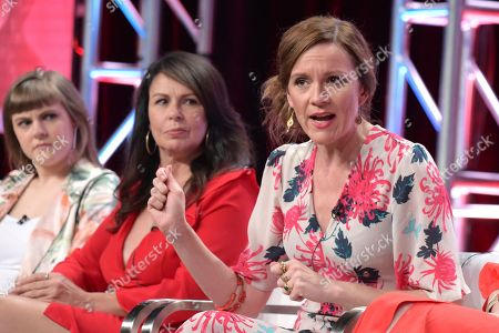 """Chanelle Peloso, from left, Julie Graham and Rachael Stirling participate in """"The Bletchley Circle: San Francisco"""" panel during the BritBox Television Critics Association Summer Press Tour at The Beverly Hilton hotel, in Beverly Hills, Calif"""