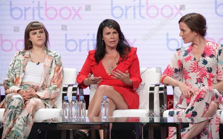"""Stock Photo of Chanelle Peloso, from left, Julie Graham and Rachael Stirling participate in """"The Bletchley Circle: San Francisco"""" panel during the BritBox Television Critics Association Summer Press Tour at The Beverly Hilton hotel, in Beverly Hills, Calif"""