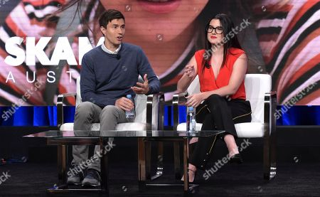 Ricky Van Veen, head of global creative strategy, Facebook, left, and Fidji Simo, vice president of video, Facebook, participate in a panel during the Facebook Television Critics Association Summer Press Tour at The Beverly Hilton hotel, in Beverly Hills, Calif