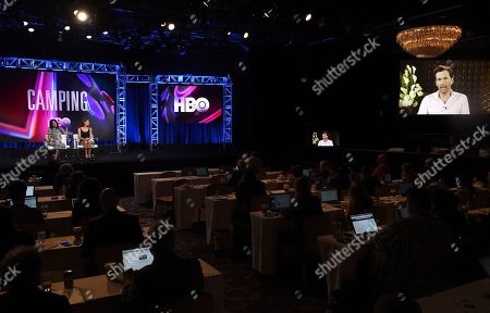 "Executive producer/writer/director Jenni Konner, from left, Jennifer Garner and David Tennant, via satellite, participate in the ""Camping"" panel during the HBO Television Critics Association Summer Press Tour at The Beverly Hilton hotel, in Beverly Hills, Calif"