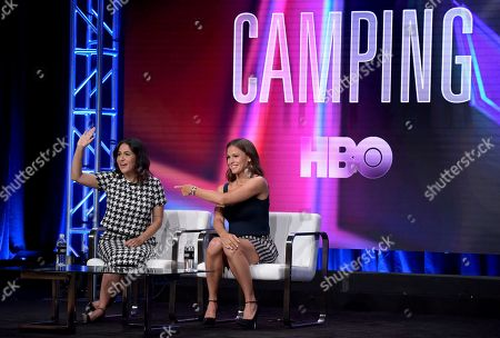 "Executive producer/writer/director Jenni Konner, left, and Jennifer Garner participate in the ""Camping"" panel during the HBO Television Critics Association Summer Press Tour at The Beverly Hilton hotel, in Beverly Hills, Calif"
