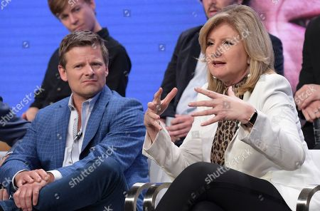 "Steve Zahn, left, and executive producer Arianna Huffington participate in the ""Valley of the Boom"" panel during the National Geographic Television Critics Association Summer Press Tour at The Beverly Hilton hotel, in Beverly Hills, Calif"