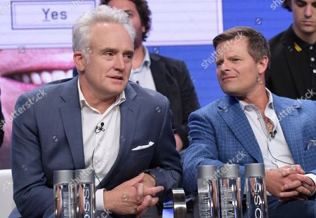 "Bradley Whitford, left, and Steve Zahn participate in the ""Valley of the Boom"" panel during the National Geographic Television Critics Association Summer Press Tour at The Beverly Hilton hotel, in Beverly Hills, Calif"