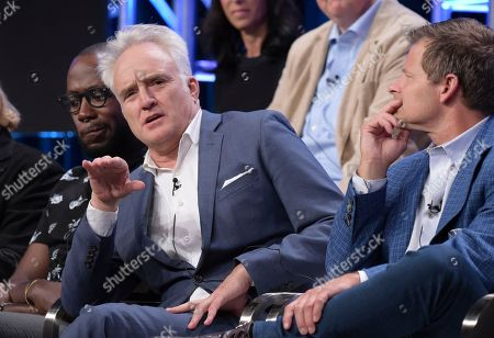 "Lamorne Morris, from left, Bradley Whitford and Steve Zahn participate in the ""Valley of the Boom"" panel during the National Geographic Television Critics Association Summer Press Tour at The Beverly Hilton hotel, in Beverly Hills, Calif"