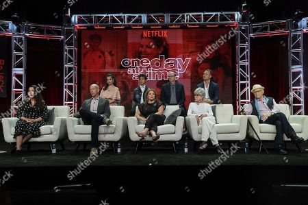 """Gloria Calderon Kellett, Mike Royce, Justina Machado, Rita Moreno, Norman Lear, Isabella Gomez, Marcel Ruiz, Stephen Tobolowsky and Brent Miller participate in """"One Day at a Time"""" panel during the TCA Summer Press Tour, in Beverly Hills, Calif"""
