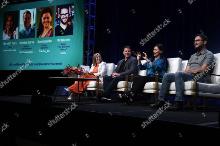 """Stock Photo of Meredith Vieira, from left, Nicholas Sparks, Diana Gabaldon and Wil Wheaton participate in the """"The Great American Read"""" panel during the TCA Summer Press Tour, in Beverly Hills, Calif"""
