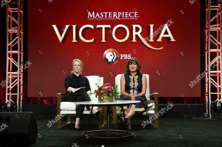 "Susanne Simpson, left, and Daisy Goodwin participate in the ""Masterpiece: Victoria"" panel during the TCA Summer Press Tour, in Beverly Hills, Calif"