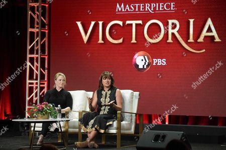 "Susanne Simpson, left, and Daisy Goodwin participate in the ""Christiane and Company"" panel during the TCA Summer Press Tour, in Beverly Hills, Calif"
