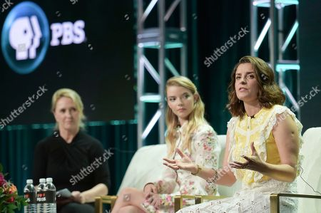 "Susanne Simpson, from left, Anya Taylor-Joy and Jessie Burton participate in the ""Masterpiece:The Miniaturist "" panel during the TCA Summer Press Tour, in Beverly Hills, Calif"