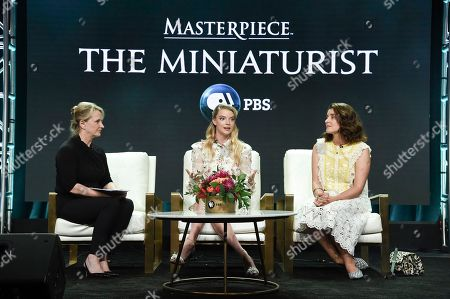 "Stock Picture of Susanne Simpson, from left, Anya Taylor-Joy and Jessie Burton participate in the ""Masterpiece:The Miniaturist "" panel during the TCA Summer Press Tour, in Beverly Hills, Calif"