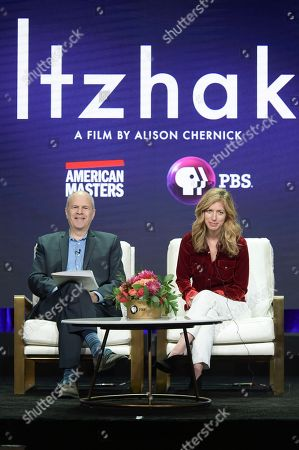 "Stock Image of Michael Kantor, left, and Alison Chernick participates in the ""Christiane and Company"" panel during the TCA Summer Press Tour, in Beverly Hills, Calif"