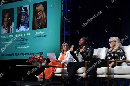 """Meredith Vieira, from left, Eliyannah Yisrael and Jane Root participate in the """"The Great American Read"""" panel during the TCA Summer Press Tour, in Beverly Hills, Calif"""