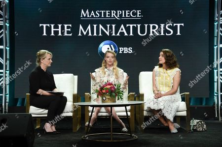 "Stock Image of Susanne Simpson, from left, Anya Taylor-Joy and Jessie Burton participate in the ""Masterpiece:The Miniaturist "" panel during the TCA Summer Press Tour, in Beverly Hills, Calif"
