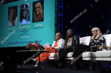 """Stock Photo of Meredith Vieira, from left, Eliyannah Yisrael and Jane Root participate in the """"The Great American Read"""" panel during the TCA Summer Press Tour, in Beverly Hills, Calif"""