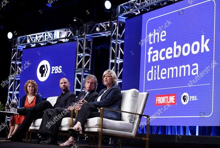 "Series executive producer Raney Aronson-Rath, from left, producer James Jacoby, Facebook investor and venture capitalist Roger McNamee and Washington Post journalist Dana Priest take part in a panel discussion on the PBS Frontline special ""The Facebook Dilemma"" during the 2018 Television Critics Association Summer Press Tour at the Beverly Hilton, in Beverly Hills, Calif"