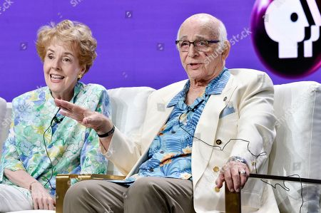 "Actors Gavin MacLeod, right, and Georgia Engel take part in a panel discussion on the PBS special ""Betty White: First Lady of Television"" during the 2018 Television Critics Association Summer Press Tour at the Beverly Hilton, in Beverly Hills, Calif"