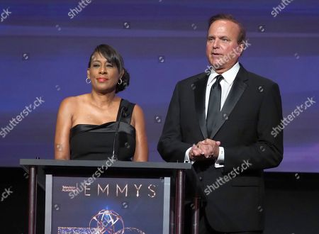 Pat Harvey, left, and David Goldstein speak at the 70th Los Angeles Area Emmy Awards, at the Saban Media Center at Television Academy's North Hollywood, Calif. headquarters on